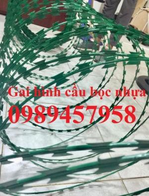 Dây kẽm gai bọc nhựa, dây thép gai hình dao bọc nhựa giá rẻ