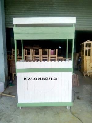Xe gỗ bán trà sữa đẹp xanh lá mẫu 2