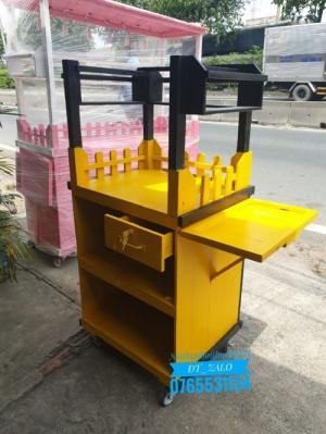 Tủ gỗ bán cà phê không mái vàng đen TG04