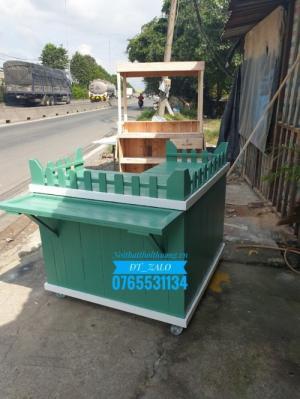 Quầy bar pha chế gỗ màu xanh 02