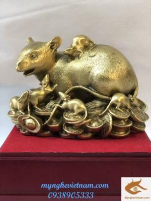 Chuột Đàn phong thủy bằng đồng nguyên chất