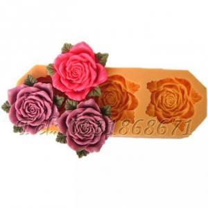 Khuôn rau câu silicon 3 hoa hồng kèm lá - Mã số 11