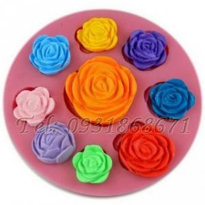 Khuôn rau câu silicon 9 hoa hồng - Mã số 5