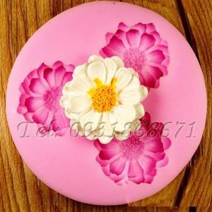 Khuôn rau câu silicon 3 hoa cúc đơn - Mã số 79