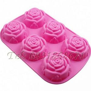 Khuôn rau câu silicon 6 hoa hồng – Mã số 260