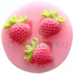 Khuôn rau câu silicon 3 trái dâu - Mã số 142