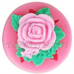 Khuôn rau câu silicon hoa hồng kèm lá - Mã số 231