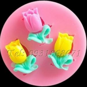 Khuôn rau câu silicon 3 hoa tulip - Mã số 3