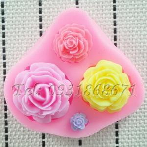 Khuôn rau câu silicon 4 hoa hồng - Mã số 8