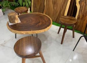 Mặt bàn tròn cafe, bàn trà gỗ me tây nguyên tấm