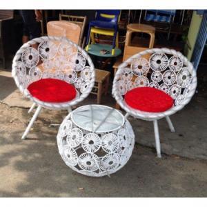 bàn ghế đồng tiền làm bằng mây nhựa màu trắng làm tại xưởng sản xuất HOANG MINH 86876