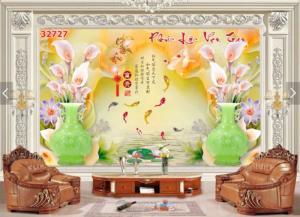 tranh 3d trang trí phòng khách hoa ngọc