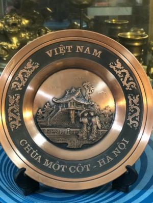 Quà tặng 2020,đĩa quà tặng chùa một côt bằng đồng đỏ