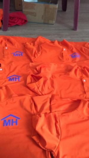 áo thun đồng phục công ty mình hưng màu cam mỹ