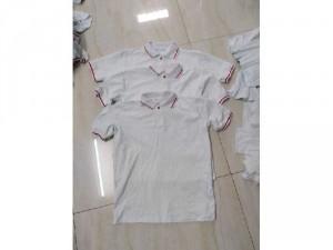 Sỉ áo thun cotton 100% trắng cổ sọc đỏ