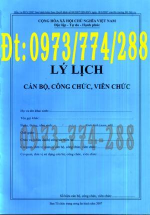 Bán quyển lý lịch cán bộ công chức viên chức - Mẫu 1A-BNV/2007/ ban hành kèm theo quyết định số 06/2007/QĐ-BNV ngày 18/6/2007 của bộ trưởng bộ nội vụ