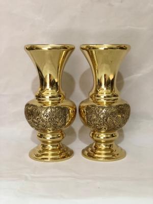 đôi bình bông thờ cúng bằng đồng cao 30cm