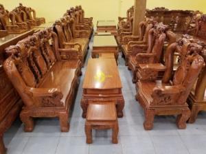 Bộ bàn ghế gỗ hương đá chạm đào tay rồng, mặt liền 6 món BBG049