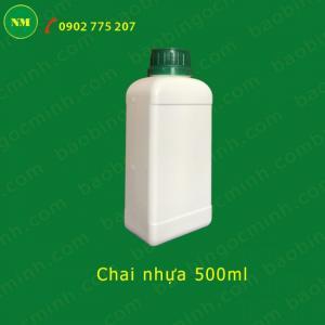 Chai nhựa vuông HDPE 500ml đựng hóa chất
