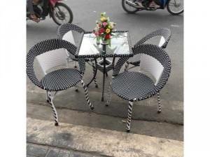 Bàn ghế cafe mây nhựa