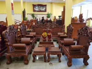 Bộ bàn ghế Hoàng Gia gõ đỏ tay cong 10 món – BBG0792