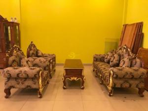 Bộ sofa cổ điển gỗ gõ đỏ dát vàng-SF055