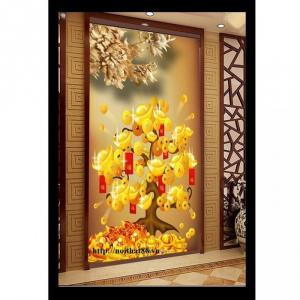 Tranh gạch trang trí cây tiền vàng