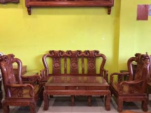 Bộ bàn Ghế Chạm Đào Vai Cong Cao Cấp - Tay Cột 10, 06 Món | Hàng Tuyển