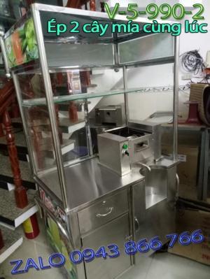 Xe nước mía siêu sạch ép 2 cây motor 800w có tủ kính