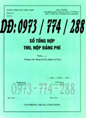 Bán sách quyển sổ tổng hợp, thu Đảng phí mẫu số S02/ĐP (Dùng cho Đảng bộ bộ phận trở lên)