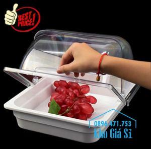 Khay buffet/ cont buffet có nắp đậy bằng nhựa mica trong suốt mở 2 chiều - HCM