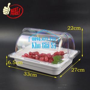 Khay trưng bày thức ăn buffet, trái cây, sashimi, bánh ngọt có nắp đậy bằng nhựa mica trong suốt mở 2 chiều - Bà Rịa Vũng Tàu