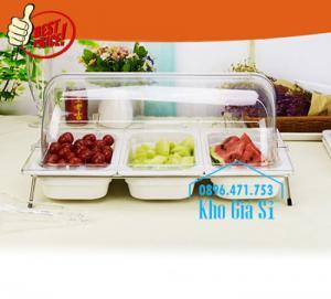 Khay inox/ Khay nhựa melamine trưng bày Sashimi, Sushi, bánh ngọt, trái cây, thức ăn tiệc buffet có nắp đậy
