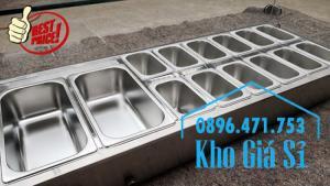 Thùng/Khung/Khay inox giữ lạnh đặt tại bàn bán trà sữa, cháo dinh dưỡng tại Đà Nẵng