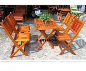 Thanh lý bộ bàn ghế xếp gỗ mini giá rẻ tphcm