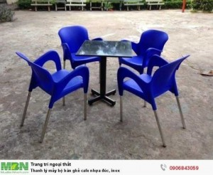 Thanh lý mấy bộ bàn ghế cafe nhựa đúc, inox