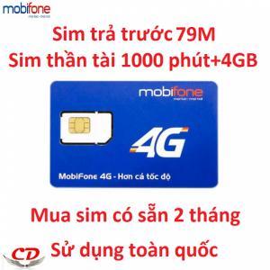 Sim 4G FREE 2 tháng thần tài 79M+1000 phút mobifone +4GB-DN