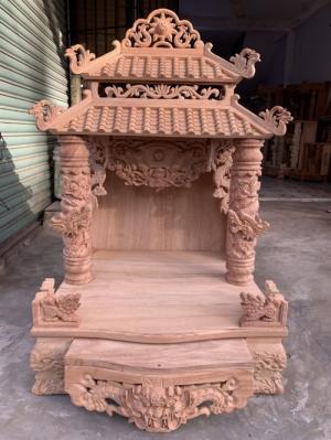 Bàn thờ ông địa thần tài làm bằng gỗ gõ đỏ