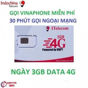 SIM itelecom vinaphone nội mạng miễn phí 90gb data 30 phút gọi ngoại mạng 0đ