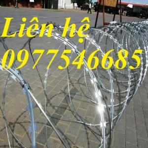 Dây thép gai hình dao ,dây thép gai mạ kẽm dùng làm hàng rào bảo vệ.