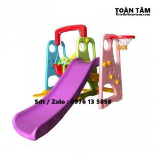 Cầu trượt +xích đu nhựa nhập khẩu cho bé - Cầu trượt mầm non cho bé