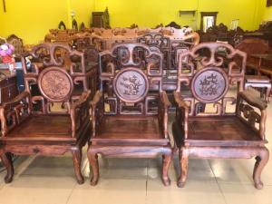 Bộ bàn ghế gỗ cẩm lai 100% triện móc chạm tứ quý cực đẹp - Hàng siêu VIP
