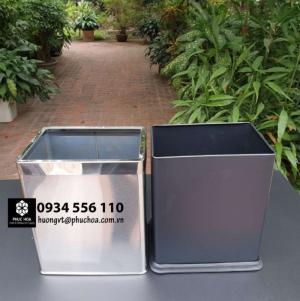 Thùng rác inox vuông cho khách sạn, resort