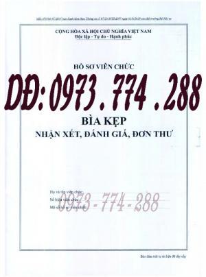 Bìa kẹp nhận xét đánh giá đơn thư Mẫu HS09b-VC/BNV