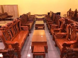 Bộ Bàn Ghế Chạm Đào - Tựa Chạm Phúc Lộc Thọ Mẫu Mới Nhất