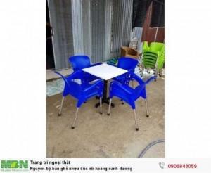 Nguyên bộ bàn ghế nhựa đúc nữ hoàng xanh dương