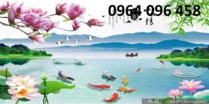 tranh hoa sen cá chép - tranh gạch 3d