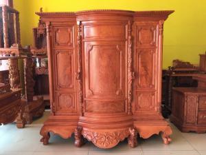 Tủ thờ gia tiên gỗ hương đá vân đẹp. Uy tín - Chất lượng