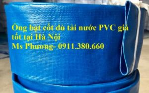 Ống bạt cốt dù PVC tải nước màu xanh D50, hàng có sẵn kho