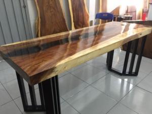 Bộ bàn gỗ me tây dài 1.82m chân bán lục giác